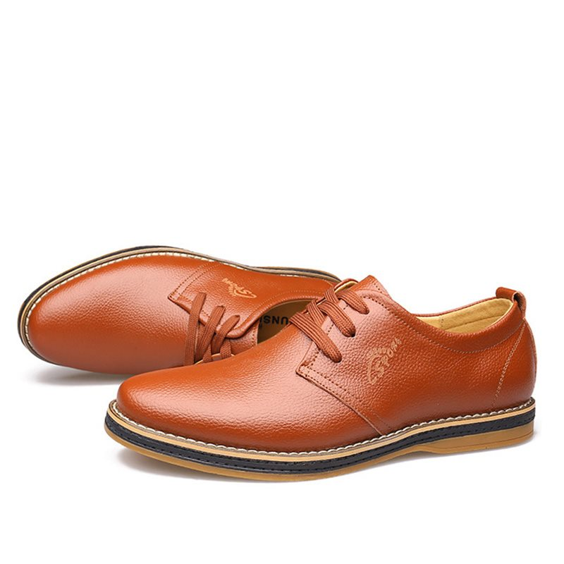 Solid Color Plain Toe Lace-Up Casual Shoes фото