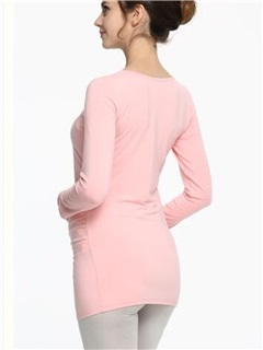 Slimming Long Sleeve Round-Neck Maternity T-Shirt