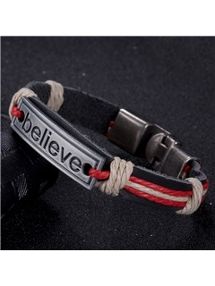 Vintage Style Leather Bracelet with Letters