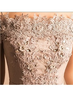 Off the Shoulder Appliques Pearls Lace Homecoming Dress