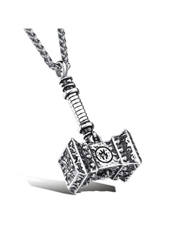 Thor's Hammer Design Men's Pendant Necklace