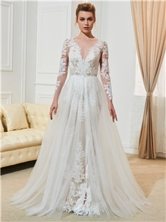 Fancy A-Line Long Sleeves Appliques Weddingg Dress