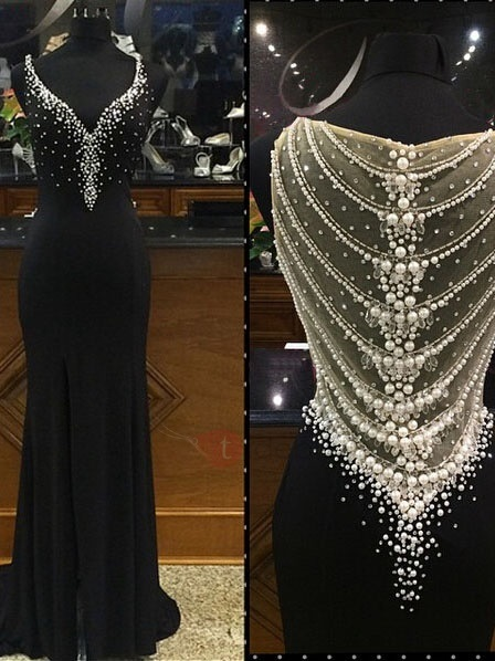 Image of Luxurious Straps Pearls Sheath Black Evening Dress