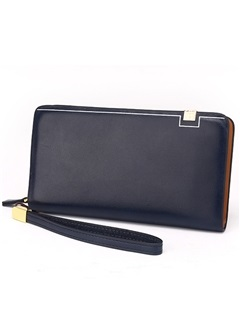 Rectangle Zipper Quality Leather Men's Wallet