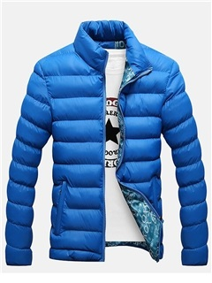Solid Color Zipper Men's Casual Down Jacket 300