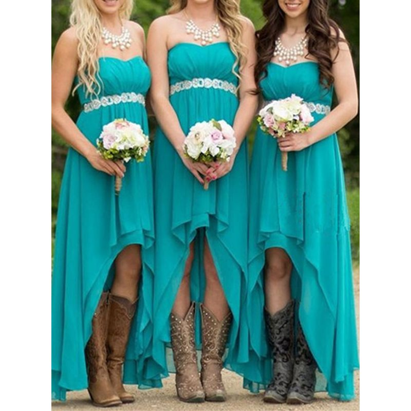 Hot Sale Beaded Waist High Low Bridesmaid Dress