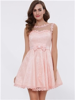 A-Line Straps Appliques Bowknot Lace-Up Short Homecoming Dress 1