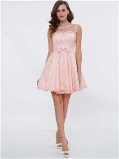 A-Line Straps Appliques Bowknot Lace-Up Short Homecoming Dress