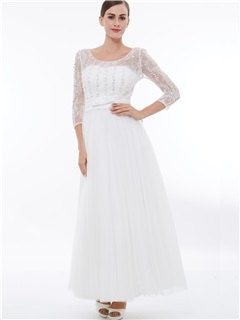 3/4 Length Sleeves Lace Beading Evening Dress 5