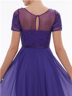 Short Sleeves Appliques A-Line Evening Dress