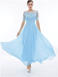 Scoop Neck Short Sleeves Beading Appliques Prom Dress 18