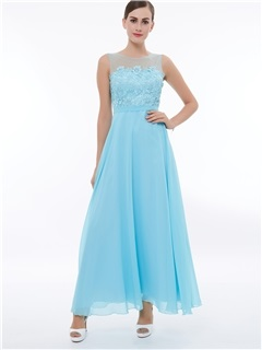 Sheer Neck A-Line Lace Long Prom Dress 34