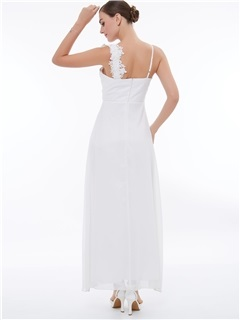 Empire Waist Straps Appliques Beading Evening Dress