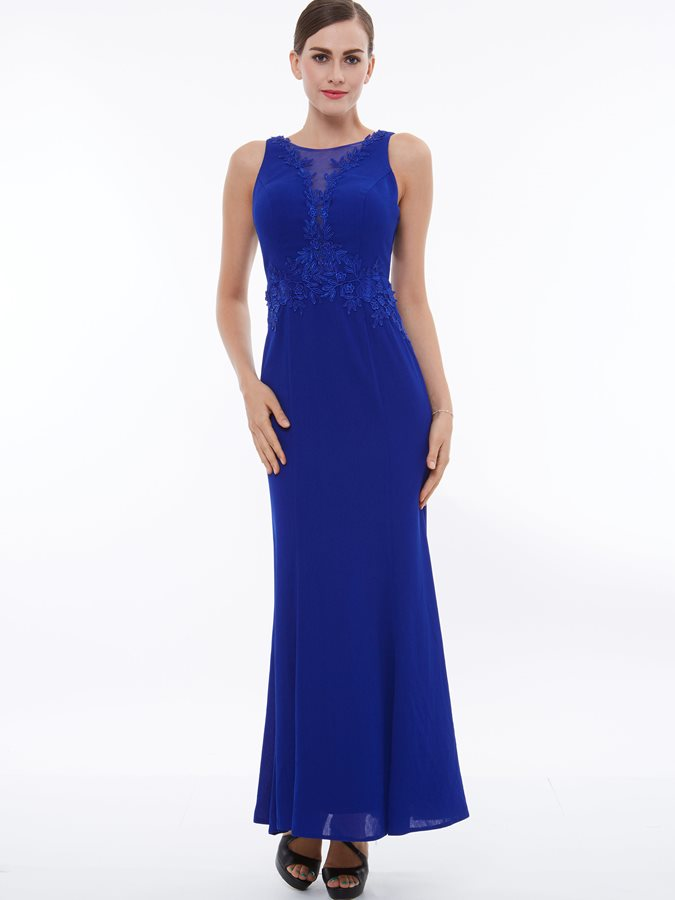 Elegant Straps Appliques Sheath Evening Dress