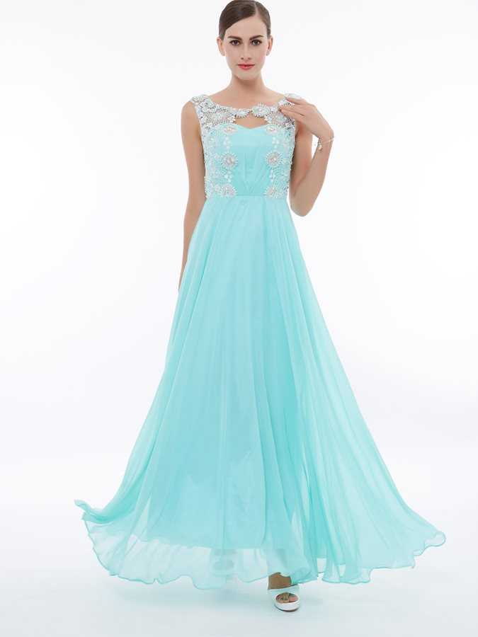 Straps Lace Appliques Pearls Long Prom Dress Tidebuy