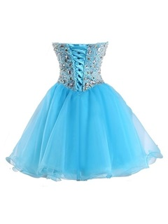 Delicate Sweetheart Beading Lace-Up Homecoming Dress