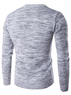 Simple Round Neck Men's Causal Sweater