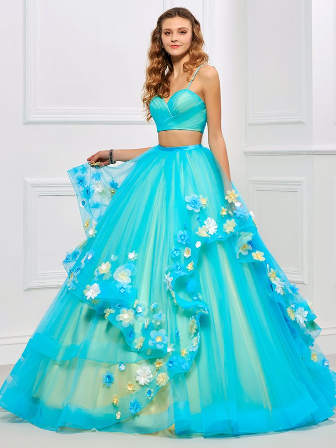 Pretty Spaghetti Straps 3D Floral Two Pieces Quinceanera Dress