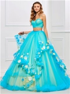 Spaghetti Straps 3D Floral Two Pieces Quinceanera Dress