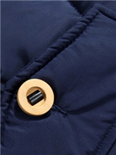 Solid Color Buttons Men's Causal Hooded Down Jacket