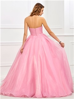Charming Strapless Ball Gown Sashes Flowers Floor-Length Quinceanera Dress