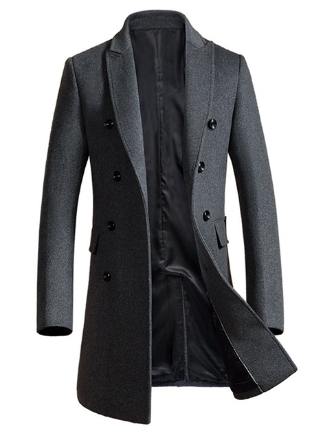 Mid-Length Solid Color Men's Trench Coat