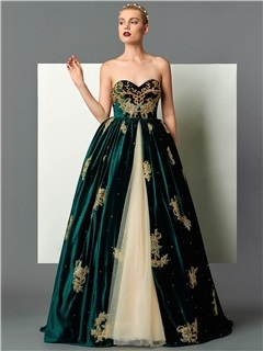 Vintage Sweetheart Ball Gown Appliques Beading Embroidery Floor-Length Evening Dress 9