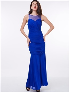 Straps Ruched Long Sheath Evening Dress 1