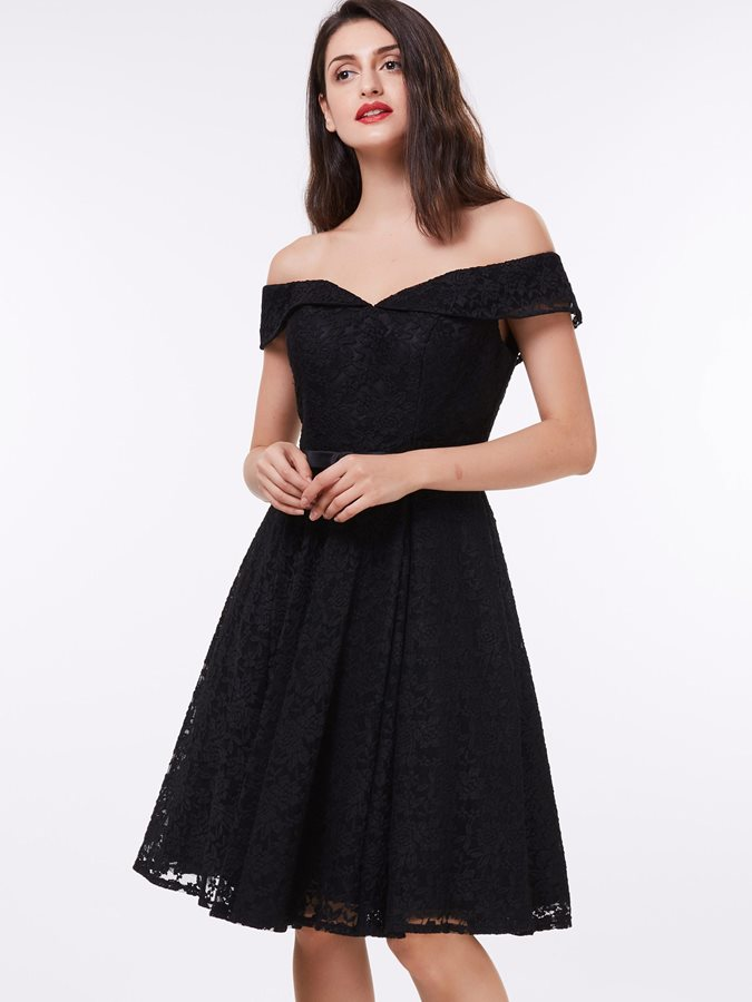 Off the Shoulder Bowknot Black Lace Cocktail Dress