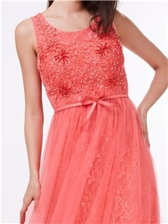 Straps Beading Bowknot Lace Prom Dress