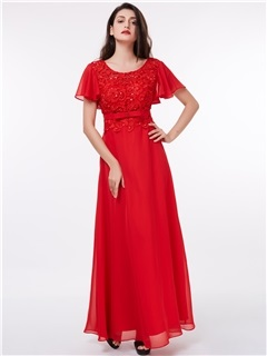 Short Sleeves Sequins Beading Lace Evening Dress