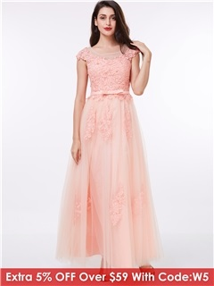 Sheer Neck Cap Sleeves Appliuqes Bowknot Prom Dress