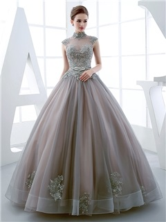 Buy Vintage High Neck Ball Gown Cap Sleeves Appliques Beading Floor-Length Quinceanera Dress