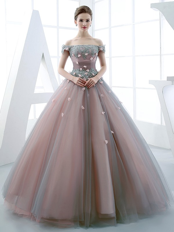 Vintage Ball Gown Off-the-Shoulder Beading Flowers Floor-Length Quinceanera  Dress : Tidebuy.com