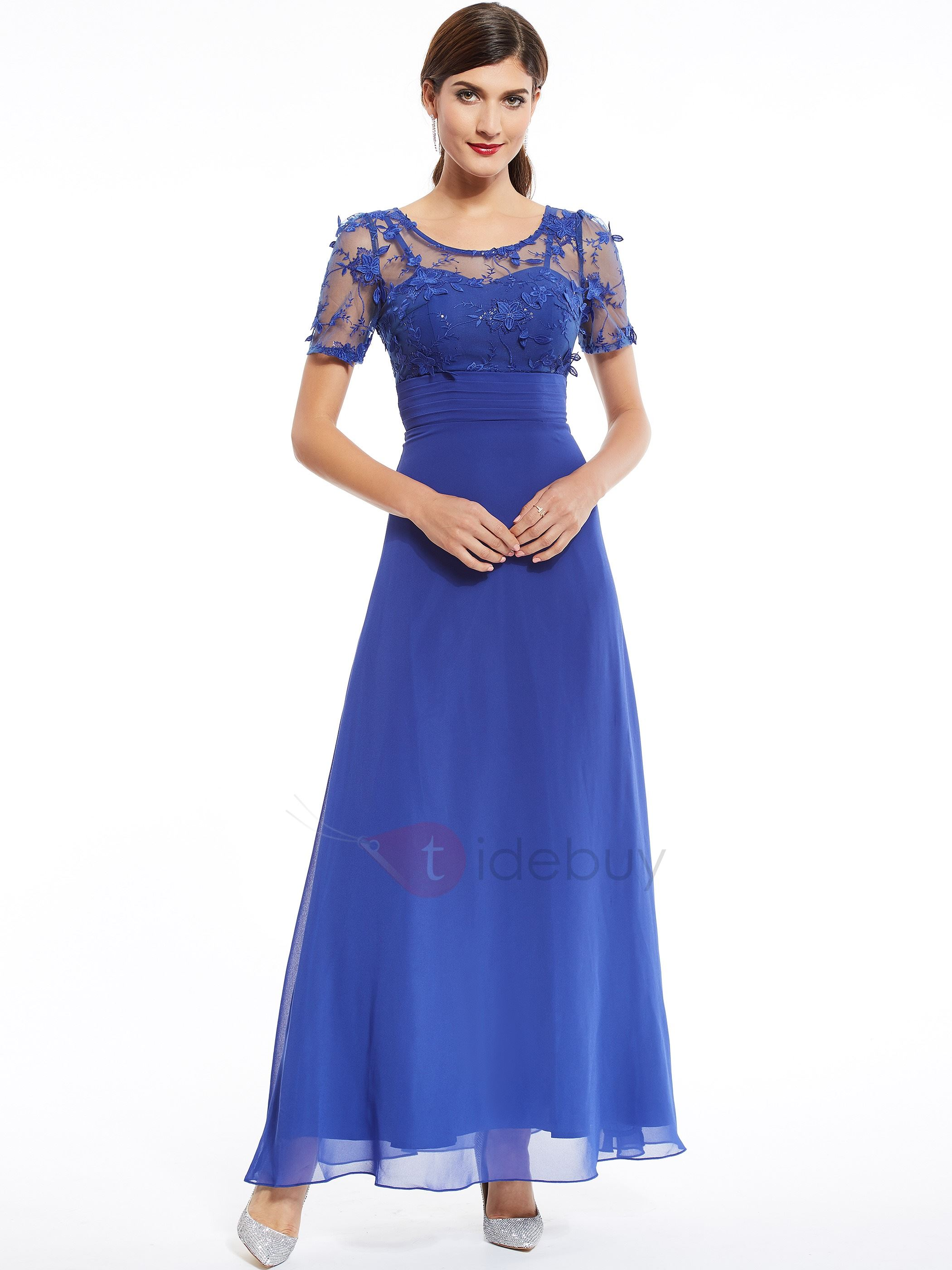 Scoop Neck Appliques Beading Short Sleeves Evening Dress