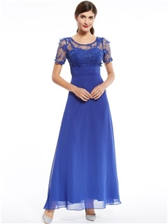 Scoop Neck Appliques Beading Short Sleeves Evening Dress 3