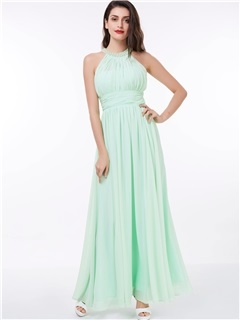 Halter A-Line Pearls Pleats Long Prom Dress 1