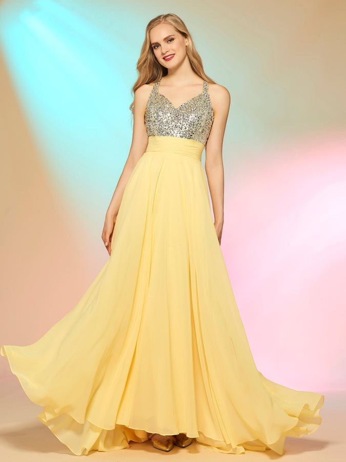 A-Line Spaghetti Straps Sequins Prom Dress