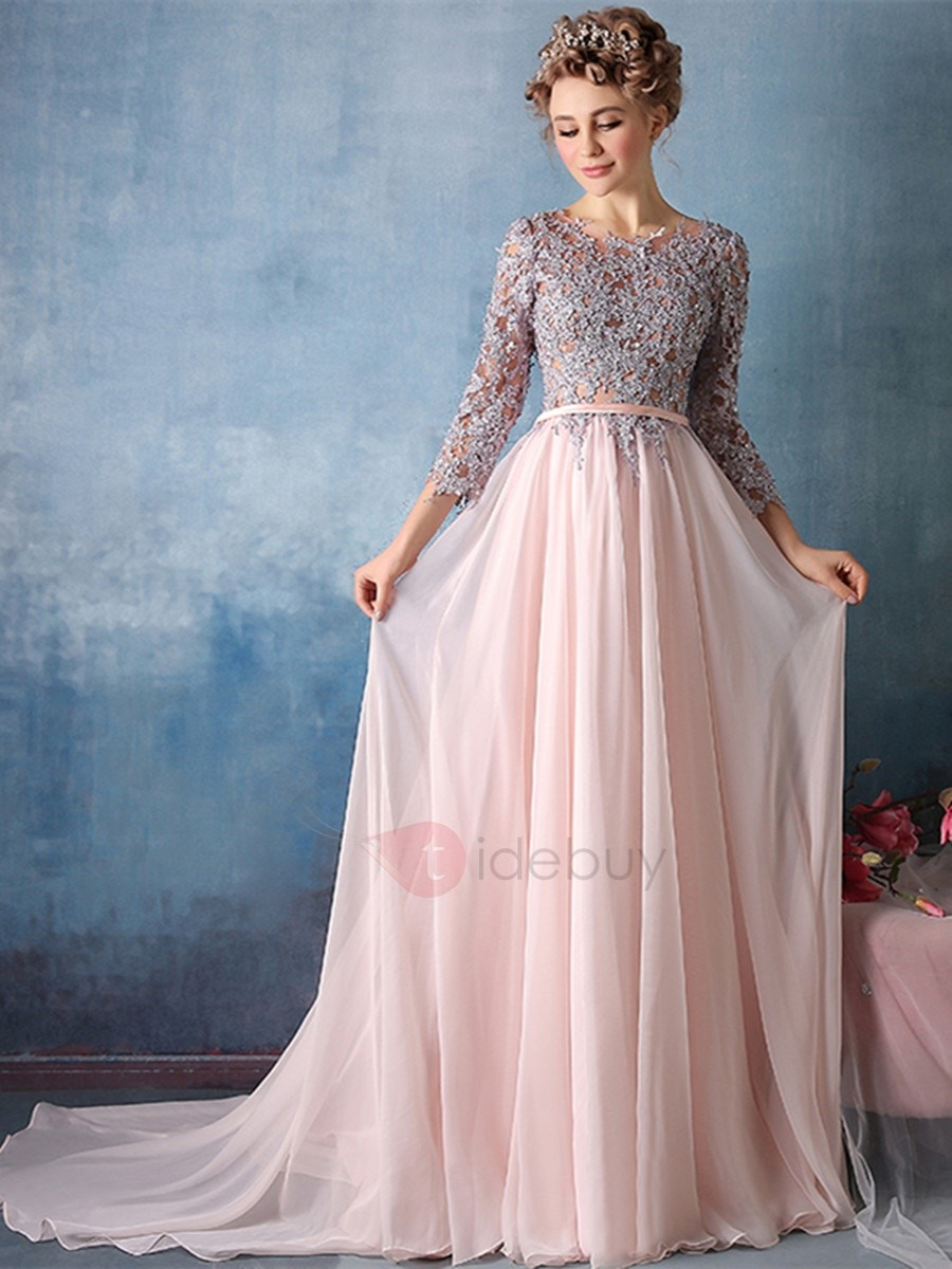 Exquisite A-Line Scoop 3/4 Length Sleeves Appliques Court Train ...