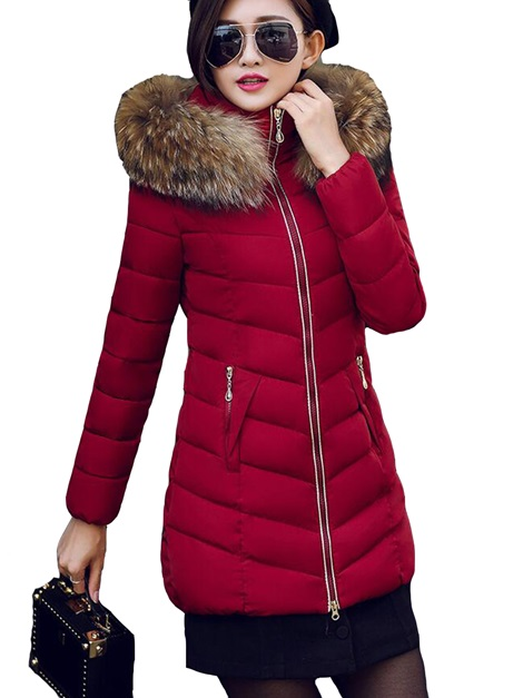 Stylish Faux Fur Mid-Length Hooded Cotton Overcoat