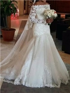 Long Sleeve Appliques Mermaid Wedding Dress 30