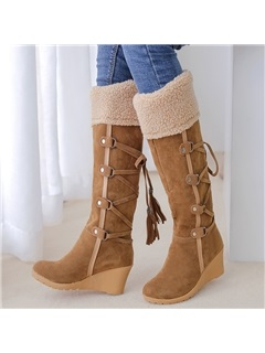 PU Slip-On Flocking Lace-Up Wedge Heel Boots