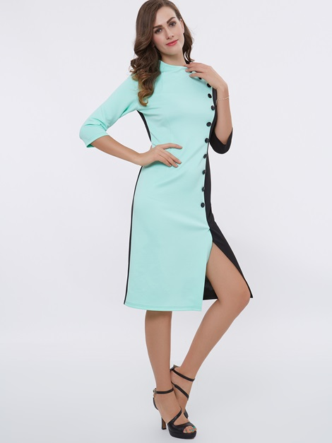Pullover Color Block Button Work Dress