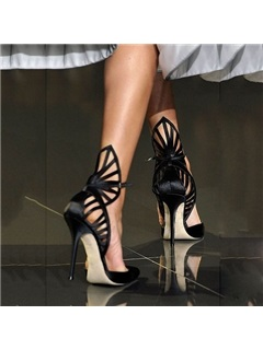Satin Line-Style Buckle Hollow High Heel Pumps