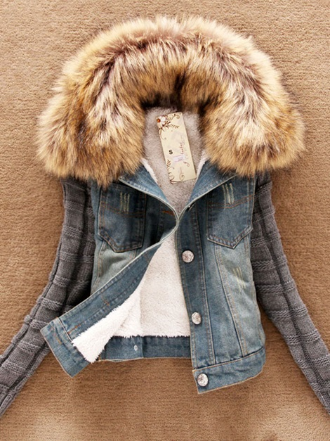 Artificial Fur Patchwork Short Women's Denim Jacket