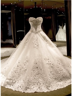 Luxurious Crystal Beading Ball Gown Sweetheart Cathedral Train Wedding Dress 27
