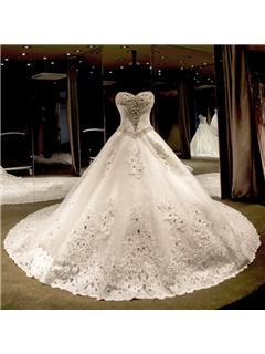 Luxurious Crystal Beading Ball Gown Sweetheart Cathedral Train Wedding Dress