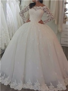 Appliques Ball Gown Long Sleeve Vintage Wedding Dress 11