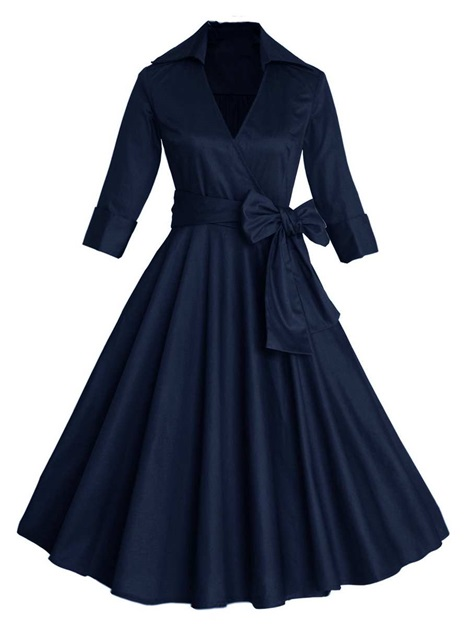 Solid Color Half Sleeve Bowknot Women's Skater Dress
