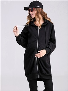 Relaxed Fit Zipper Drawstring Maternity Hoodie
